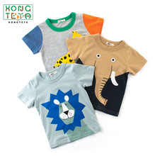 2019 Hot sale Summer Cotton Baby Boys Clothes Cartoon Animal Prints Baby Tops Kids Summer T shirt