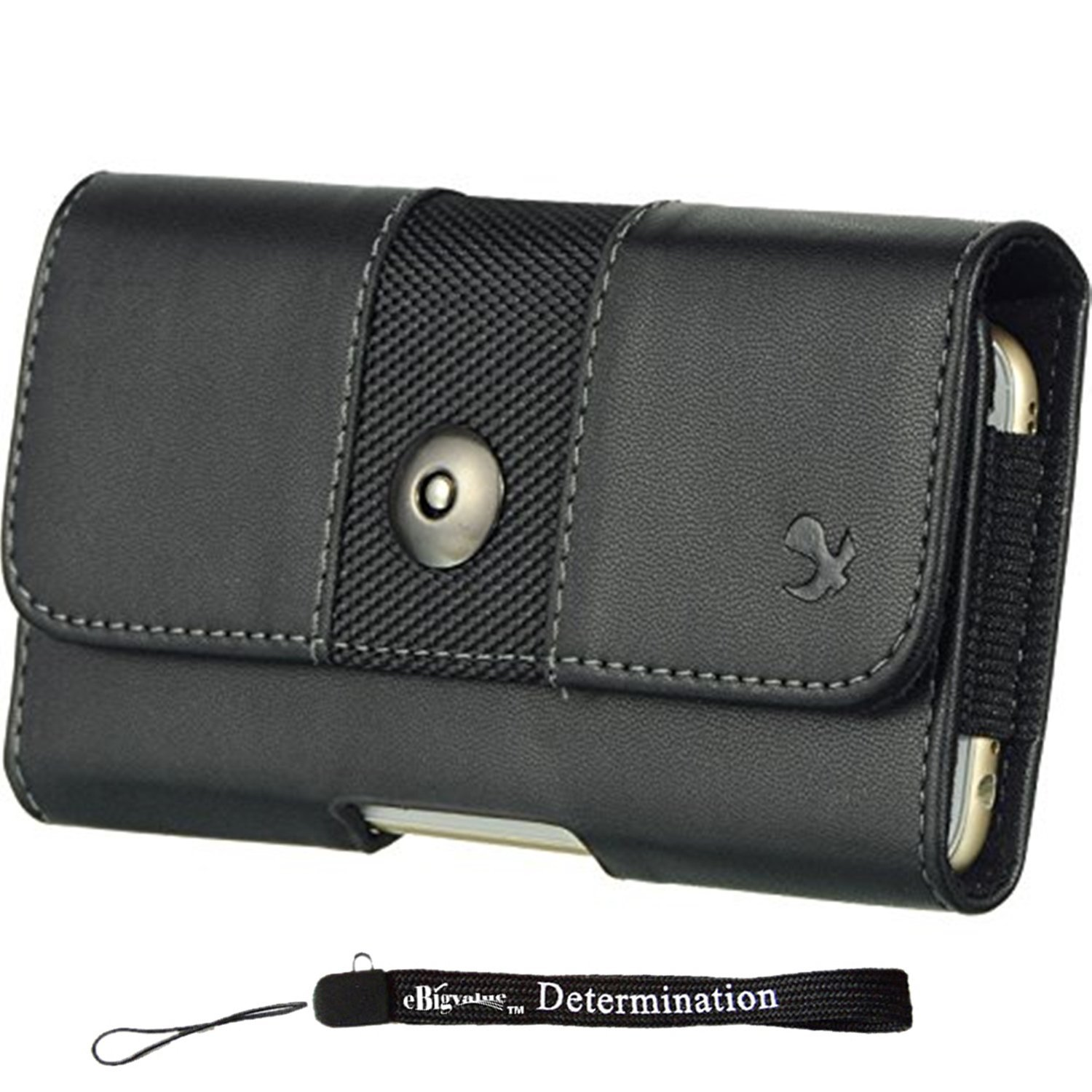 "Horizontal Executive Black Nylon Leather Hip Holster w/Belt Clip [CEL964] For Alcatel One Touch Conquest | Fierce XL | Pixi 3 5"" + eBigValue HandStrap"