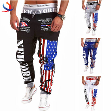 Wholesale New Design Printing Man Trousers Men Stylish Bellow Flag Pattern Pants For Man