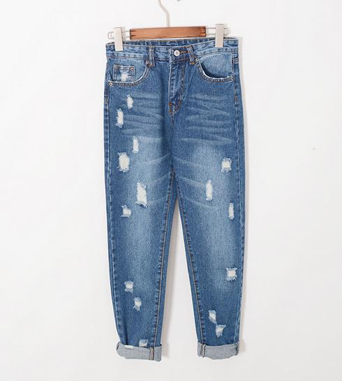 Z71178M Broken hole jeans classiacal pants big size ripped women's jeans