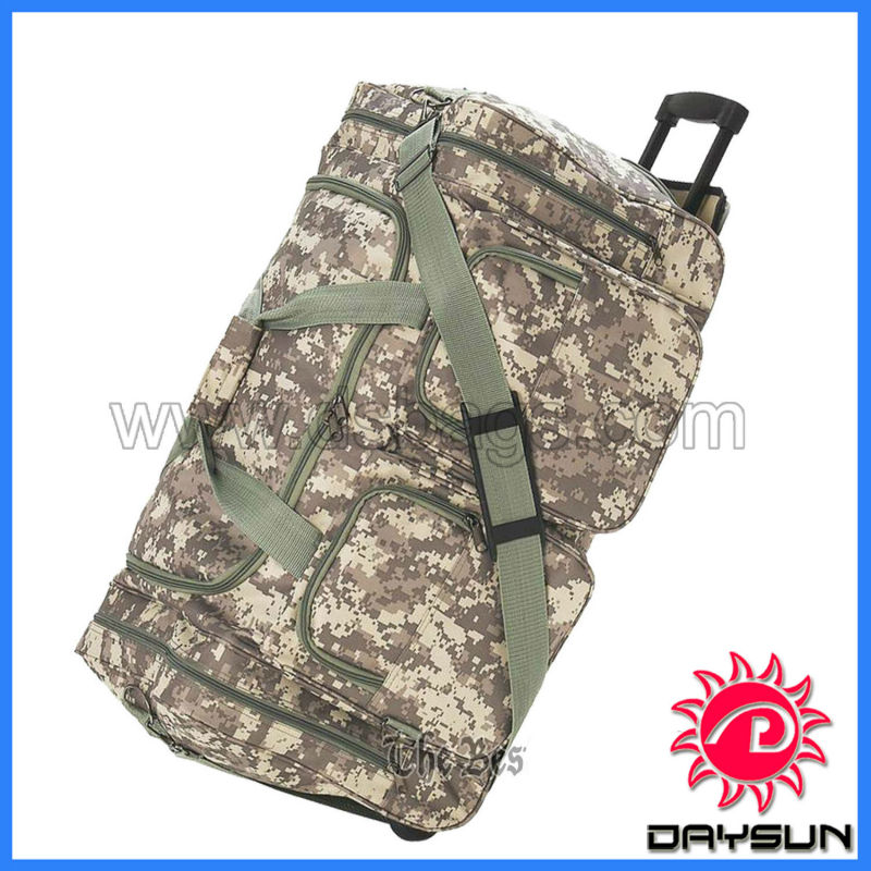 Waterproof military trolley duffle bag with wheels rolling