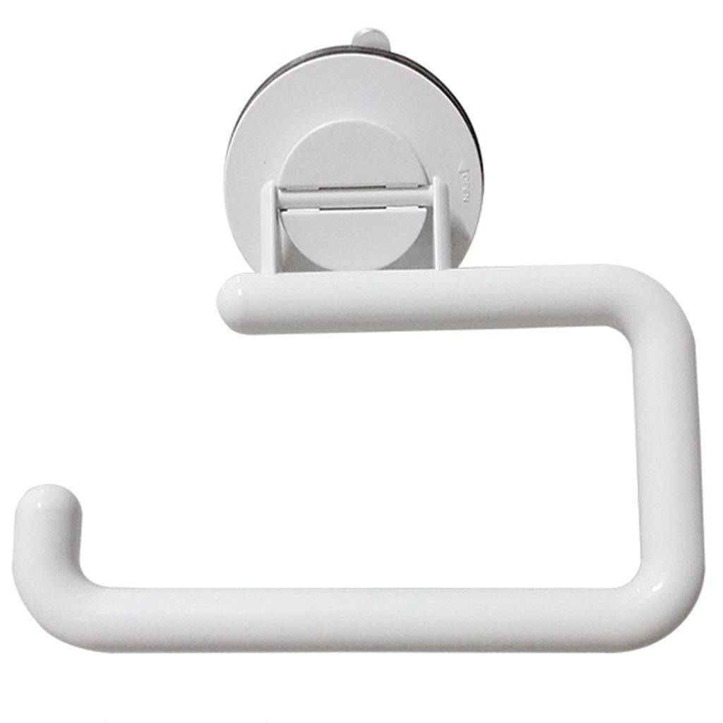 ZhaoLiRuShop Toilet Paper Holders Toilet Paper Holder Rack Space Towel Rack Suction Cup Bathroom Durable Paper Towel Holder Waterproof Paper White Toilet Paper Holder