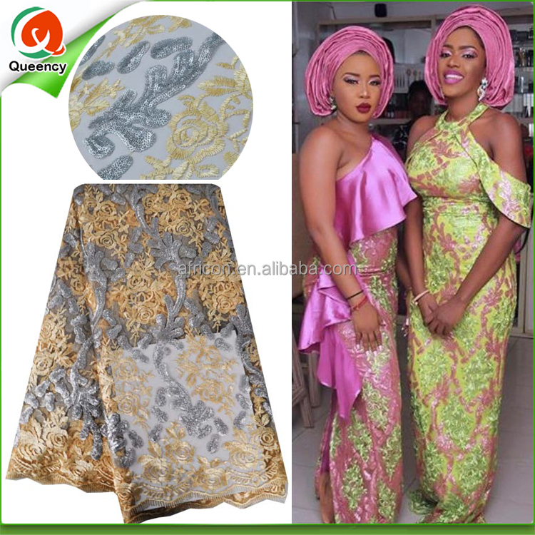 NQ386 Queency African Wedding Dress Fabric Handwork Floral Embroidery Sequins French Lace Wholesale Dubai Lace