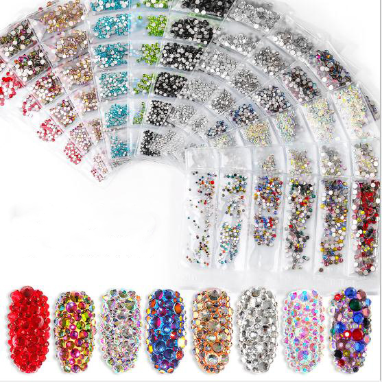 3D Mix Size <strong>Nail</strong> <strong>Art</strong> Decorations Crystal Diamond Gem Rhinestone