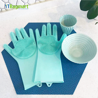 Hot Sale Heat Resistant Reusable Brush Cleaning Magic Silicone Scrubber Glove For Kitchen/Pet Hair Care