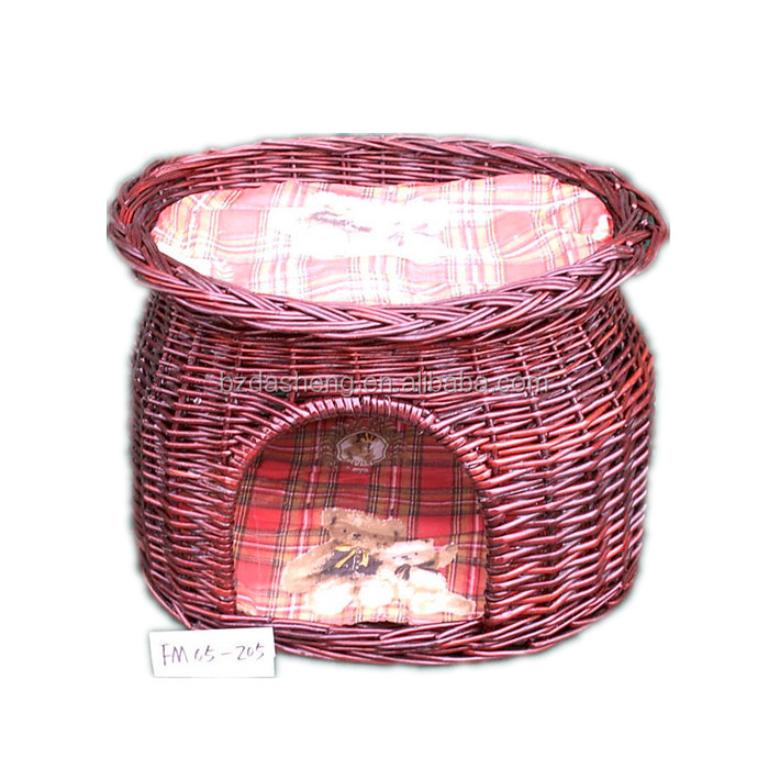 OEM high quality 0red wicker pet basket