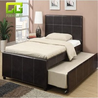 Black Faux Leather Hard wood Frame Day bed with Trundle for Twin size Bed