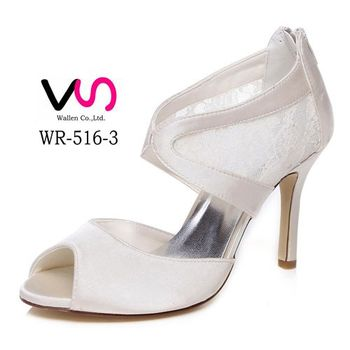 f82b2b5364aa6a New ivory dyeable satin bridal shoes wedding dress shoes in lace material