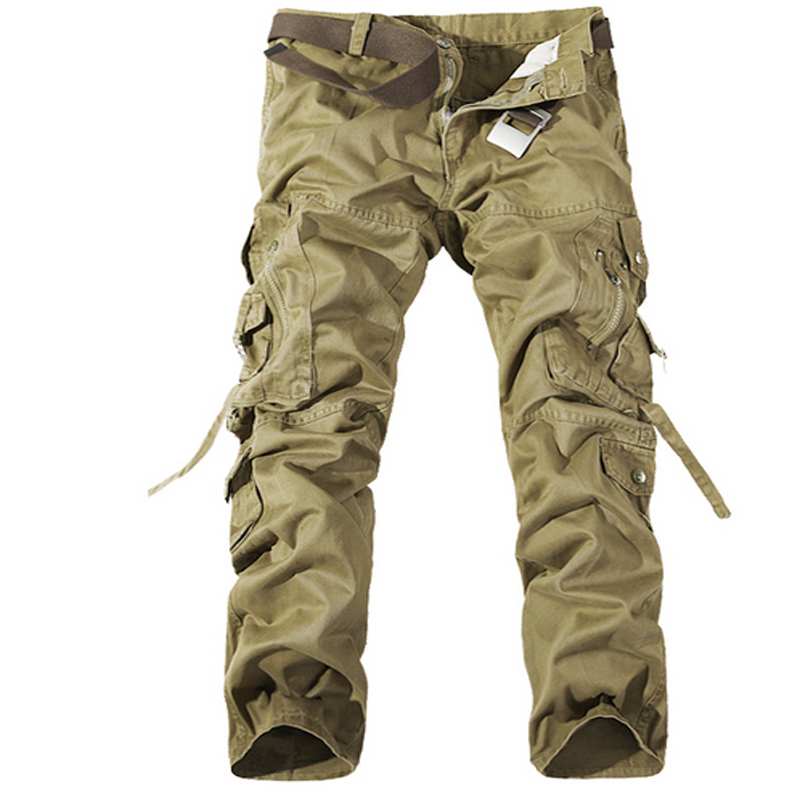cc3686ae3fa Get Quotations · Cotton Multi Pocket Outdoor Cargo Pants Military Style  Khaki Outdoor Jeans Track Joggers Men Clothing Plus