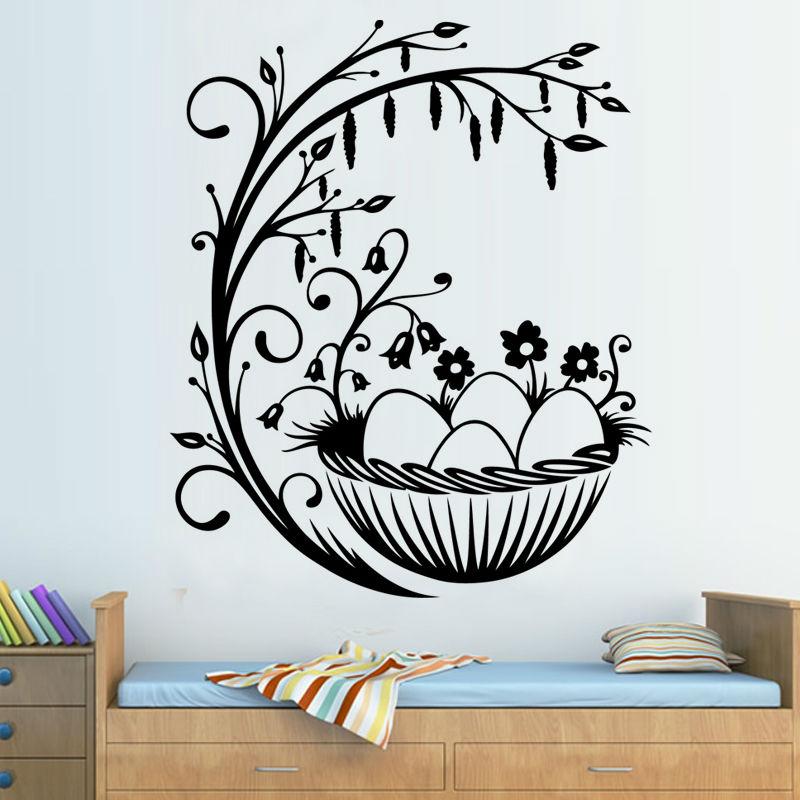 Branch Flower Easter Egg Nest Wall Sticker Removable Vinyl Art Decals Kids Bedroom DIY Home Decor