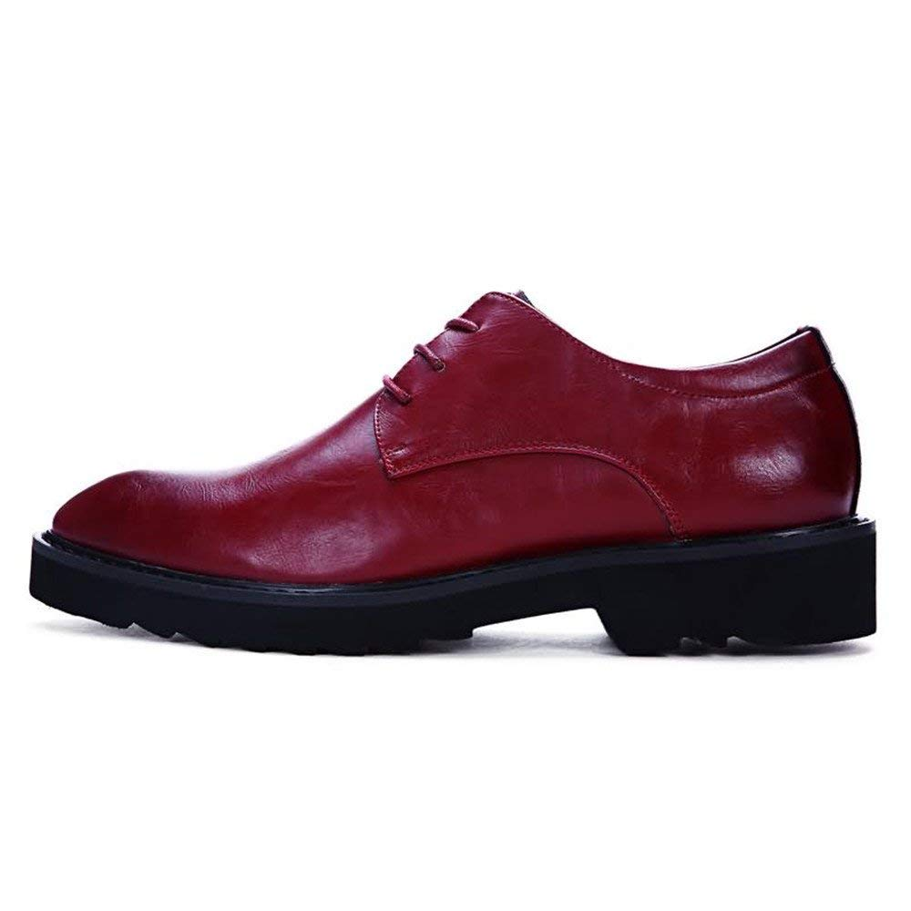 Muyin Men's Oxfords Flat Heel Pointed Toe PU Leather Lace up Solid Color Business Shoes