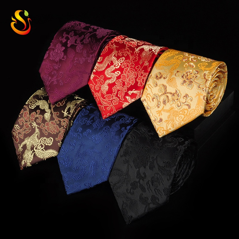 Wholesale <strong>Flower</strong> jacquard weave polyester Silk <strong>tie</strong> <strong>Tie</strong> men's Chinese style dragon pattern red black <strong>blue</strong> ethnic style neckties