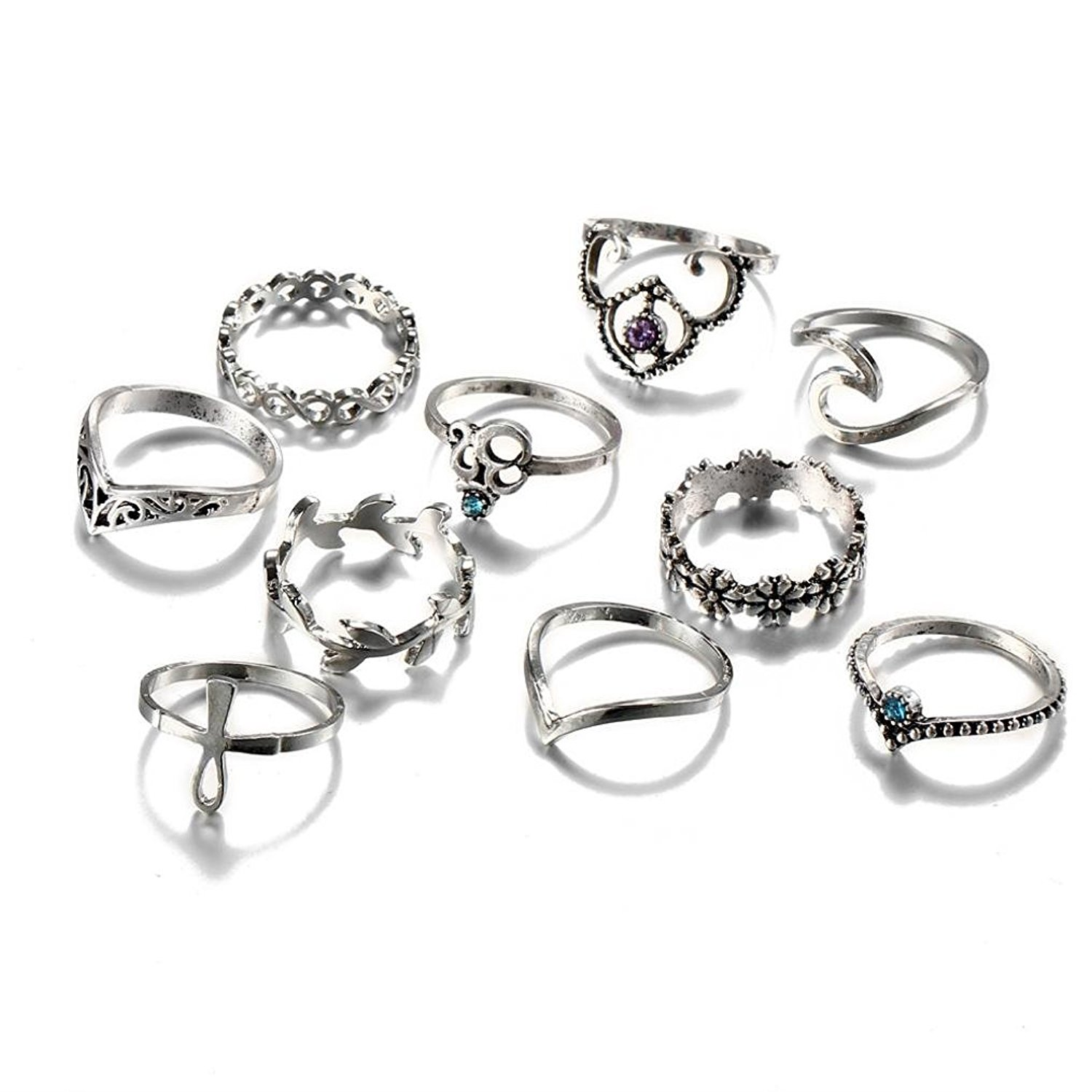 Nmch Womens Rings,10pcs/Set Ring Jewelry Sets,Fashion Bohemian Vintage Silver Stack Rings Above Knuckle Blue Rings