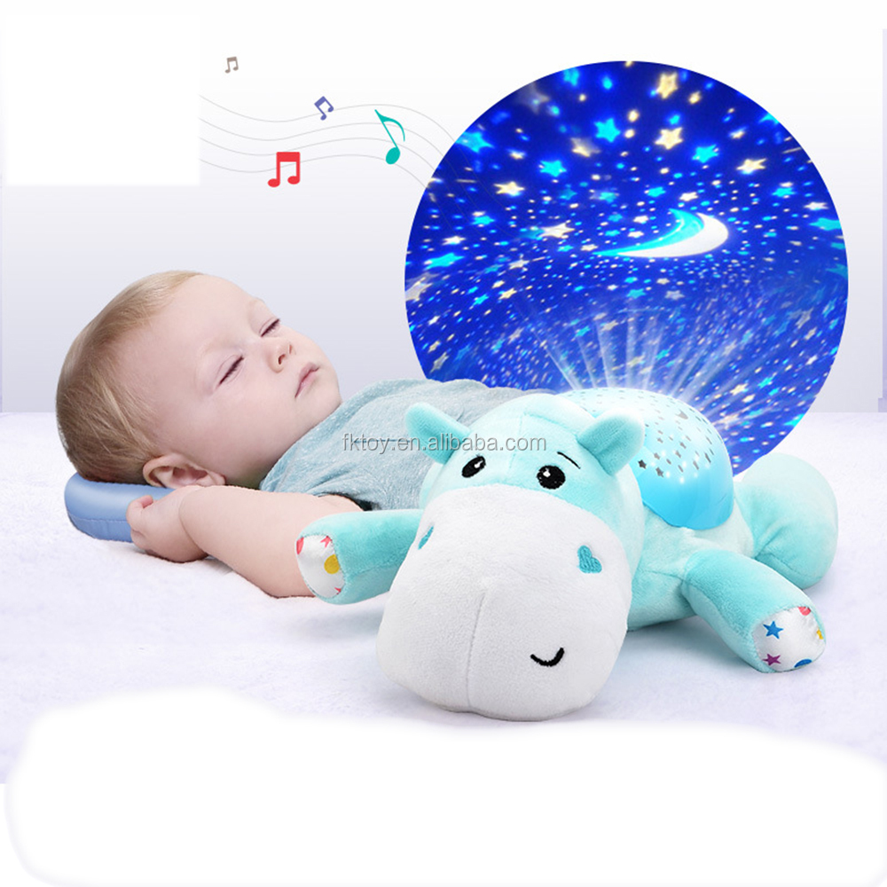 Cute Blue Color Hippo Shaped Animal Musical Night Light Moon Star Project Lamp Plush Toy For Baby
