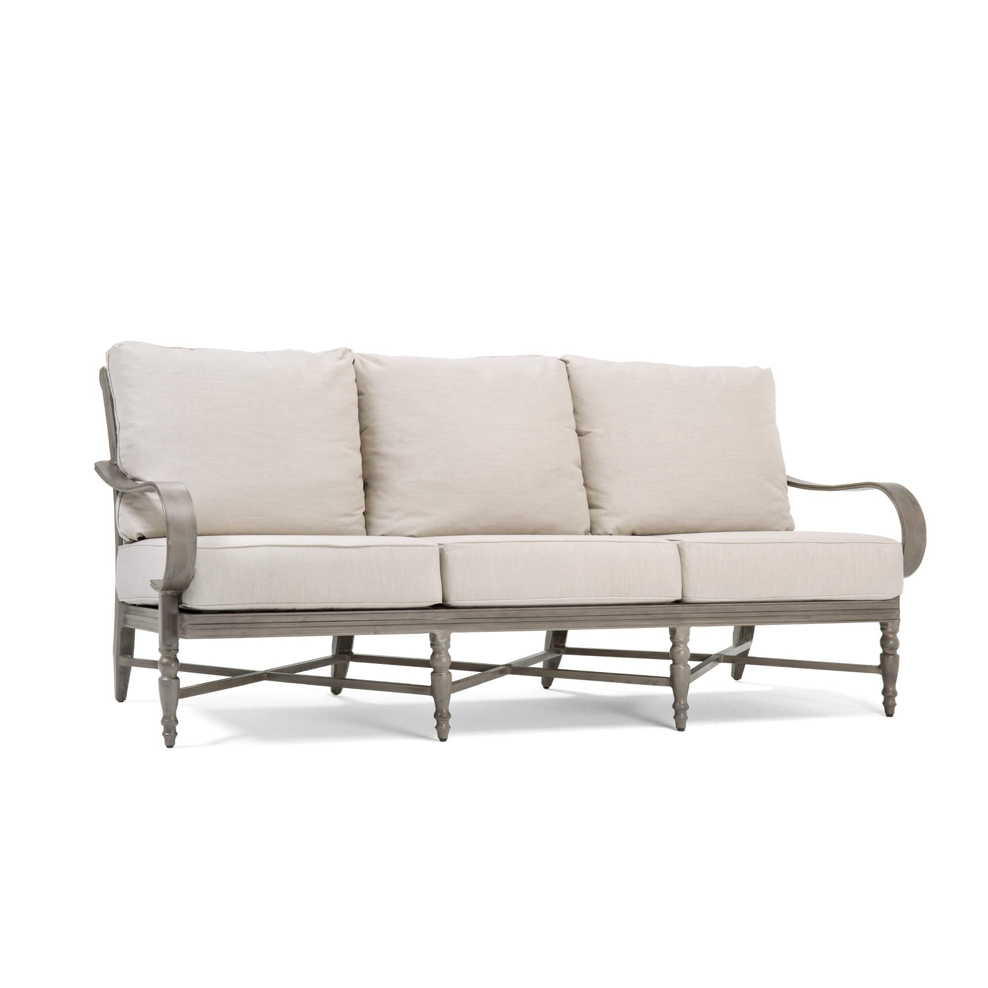 Blue Oak Outdoor Saylor Patio Furniture Sofa with Outdura Remy Sand Cushion