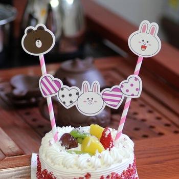 Rabbit Cake Topper Cartoon Cupcake Toppers Picks Kids Birthday Cake