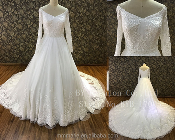 2018 wedding dress long sleeve Sexy v-neck The upper body is decorated with  nail. View larger image 46032599b