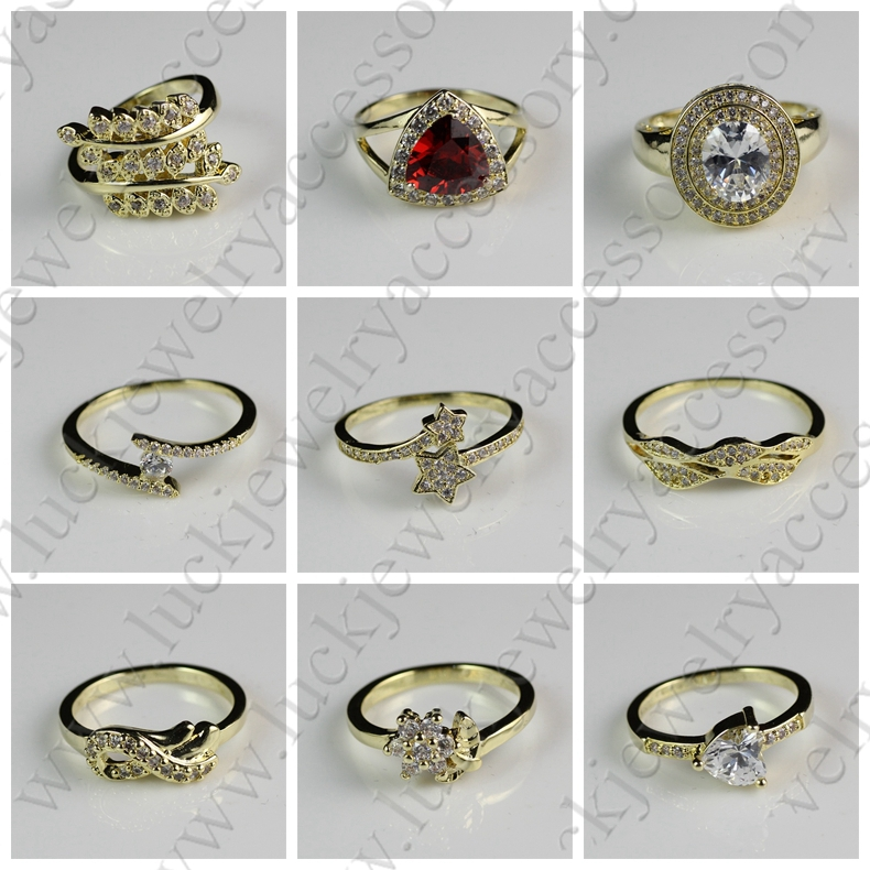 Charming Fashion New Design Zircon Diamond Inlay 18k Gold Ring