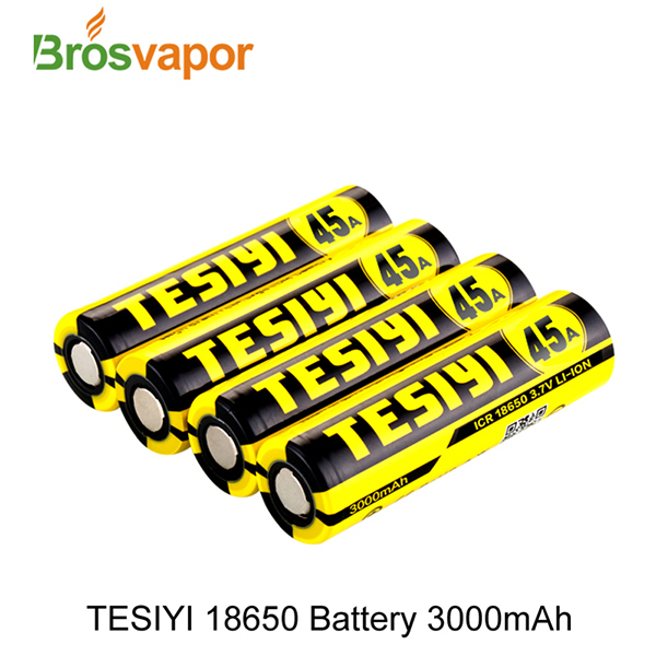 Professional Vape Battery Tesiyi 18650 3000mah 45A battery lithium ion rechargeable battery