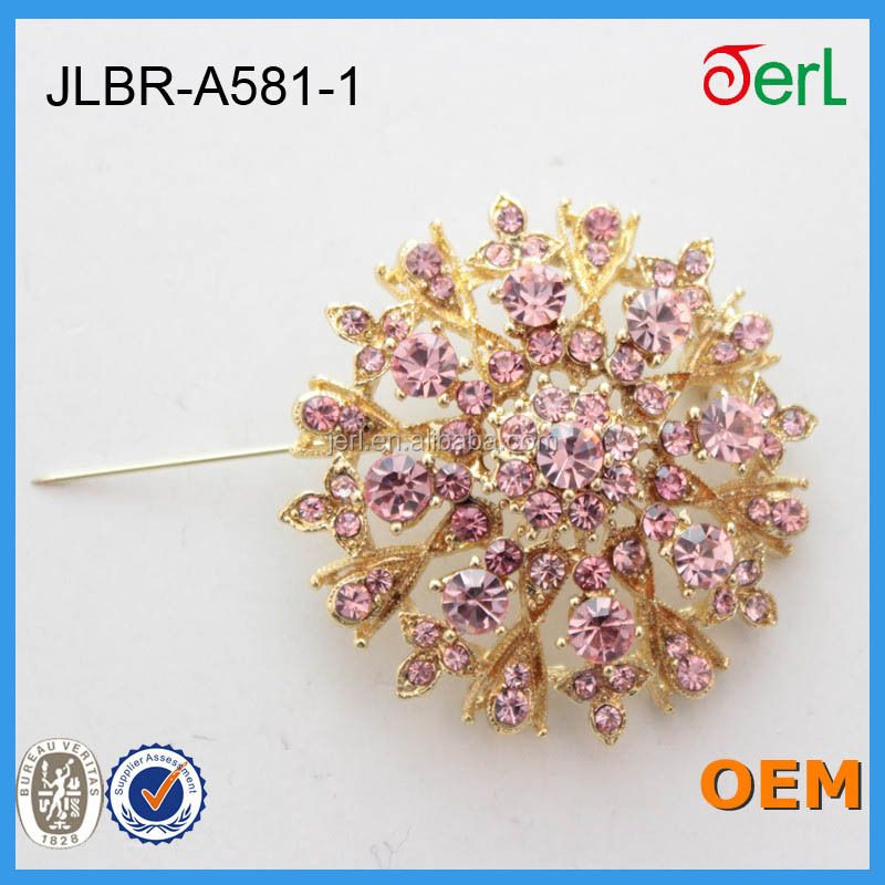 Fashion Exquisite Clear Crystal Rhinestone round Wedding Flower corsage Brooch Pin