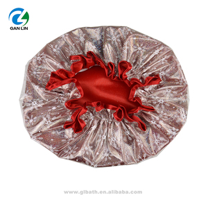 christmas snowflake red satin water-proof shower cap