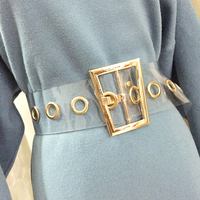 fashion trapezoid gold PVC Metal Buckle Wide Waist Belt for Woman Transparent color belt for Dress Jeans Sweater Waistband Belts