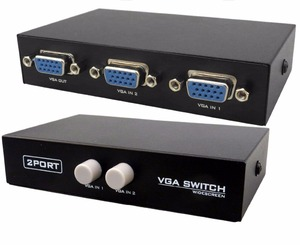 KUYiA 2 Port VGA Monitor Switch 2 Port Manual VGA Switches -for two PC to share one monitor and speaker system