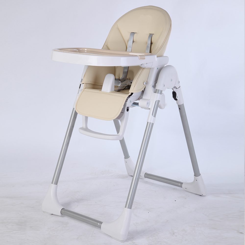 ASTM approval height adjustable stability space saving wooden baby high chair