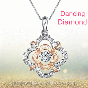 PES fashion jewelry! Two Tone Plated Dancing Diamond Accent Crown Flower Pendant Necklace (PES3-1258)