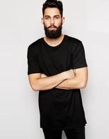 Extended Men's Black T-Shirt Oversize Long Tall Tee Shirt
