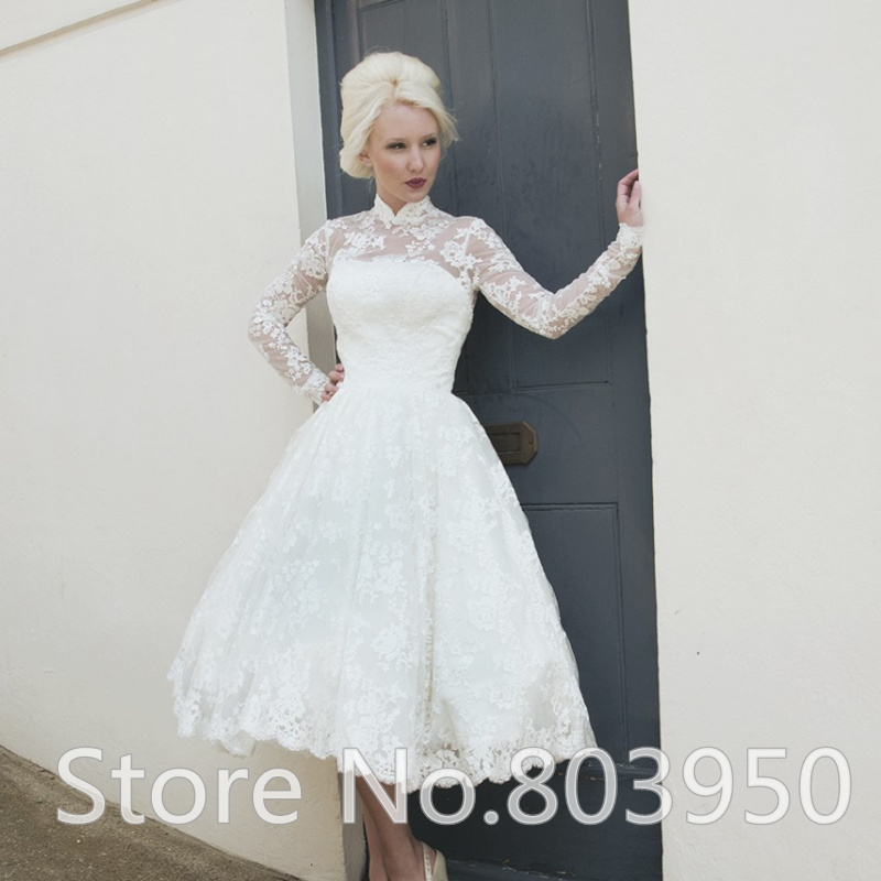 Short Lace Wedding Dress With Long Sleeve