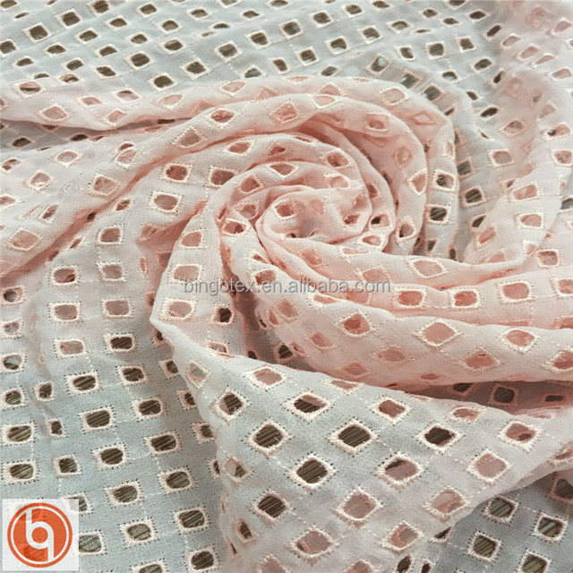 openwork embroidery/ embroidered chiffon fabric with allover holes