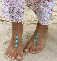 Summer Romantic Blue Beads Elegant Foot Bracelet For Women Wild Handmade Bead Chain Anklet Bracelets Fashion Gift