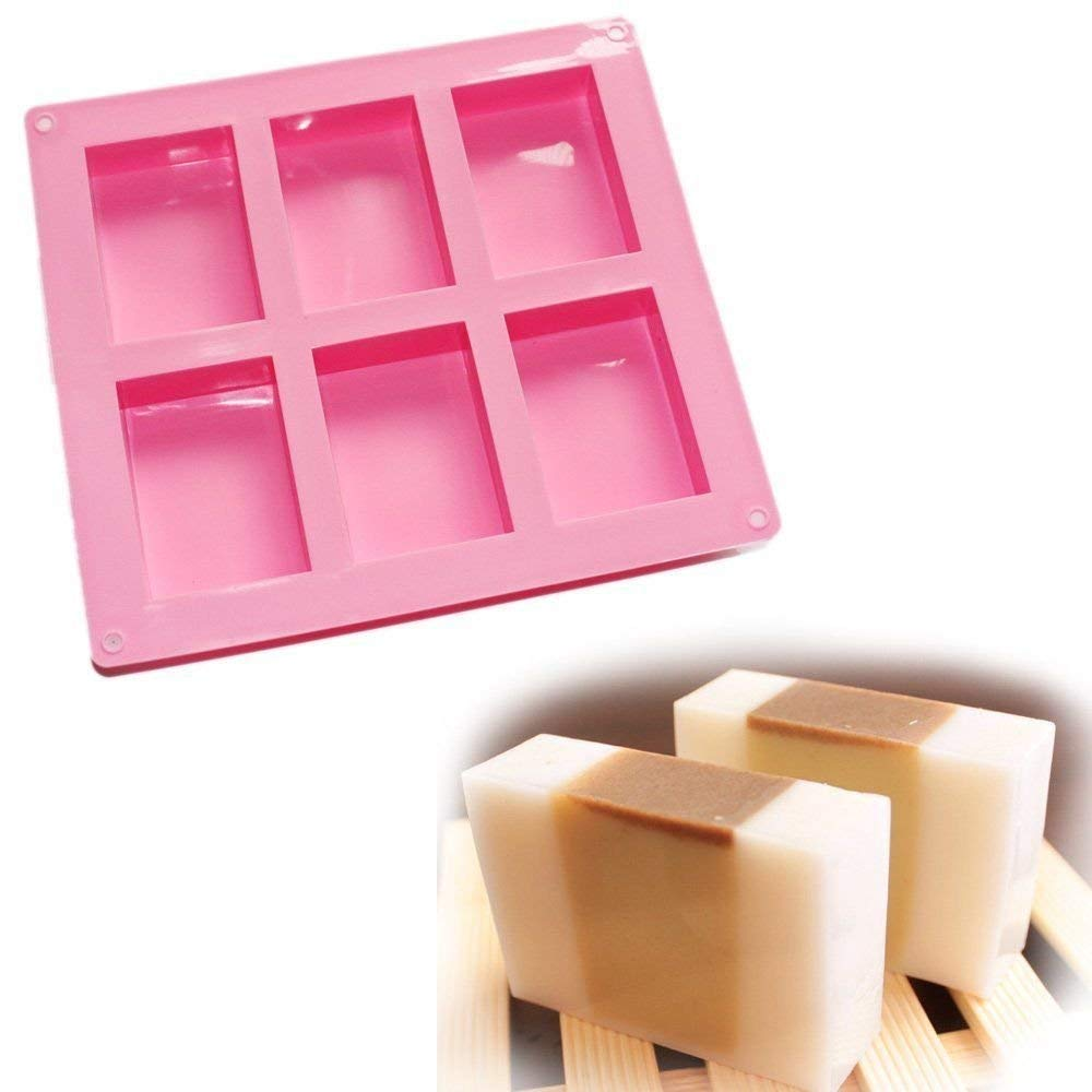 ZWZCYZ 6 square square brick 5 * 5 * 2.5 cm (1.96X1.96X0.98inch) Cavity Homemade Craft Plain Basic Rectangle Soap Mold Cake Silicone Mould