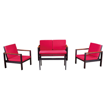 Fireproof Sunproof Modern Outdoor Garden Aluminum Lounge Furniture Cheap  Sofa Set With Red Cushions