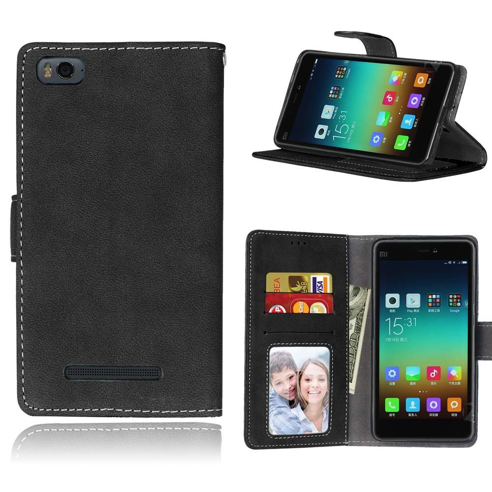Xiaomi 4C Case,Xiaomi 4I Case,Gift_Source [Photo/Card Slots] Classic Matte PU Leather Design Magnetic Closure Folio Flip wallet Cover Stand Protective Case for Xiaomi Mi4i Mi4C 5.0 inch [Black]