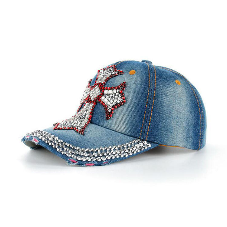 Free Shipping New Fashion Adjustable Leisure Women cap Colorful Bling Cross Design Baseball Cap for Girls