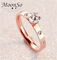 Wholesale fashion wedding stainless steel 18k gold plated high quality ring for women MOONSO AZR5627
