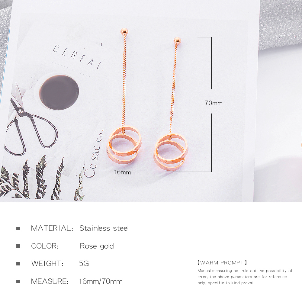 Fashion Women Jewelry Stainless Steel Circle Dangle Rose Gold Earring Drops