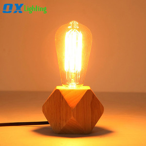 Wood Base Table Lamp E27 Edison Bulb Bedside Reading Lamps