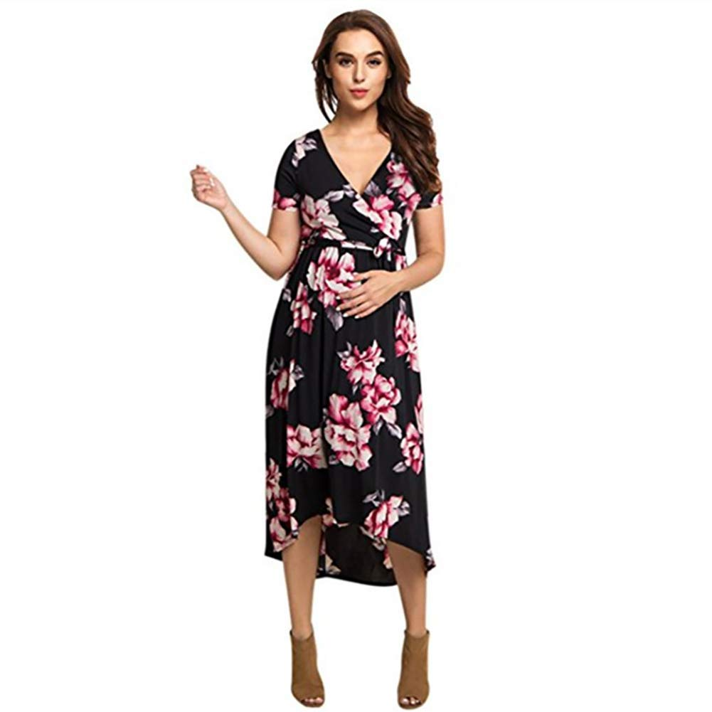 10ff8cb9e6215 Get Quotations · YaptheS Print short-sleeved dress V-neck short-sleeved dress  pregnant women pregnant