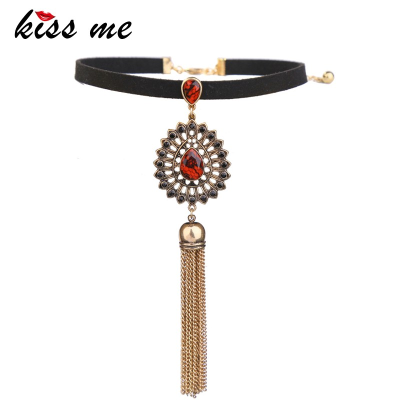 Ruby Charm Choker Necklace, Tassel Chains Women Black Necklace Wholesale