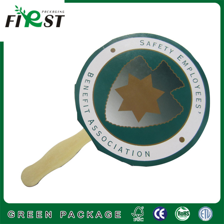 cardboard paper fan wood handle fan for advertisement event/Wooden Handle Custom Paper Hand Fan