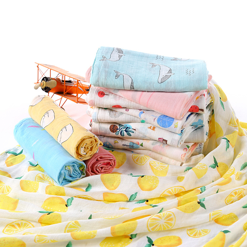 muslin super soft newborn swaddle bamboo organic cotton 2 layer cotton baby blanket, Picture