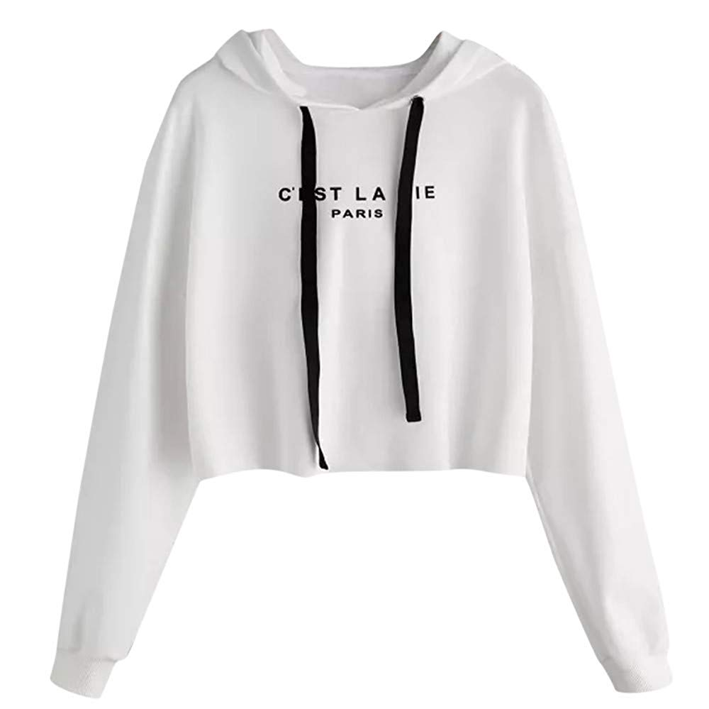 Zainafacai Fashion Women's Letter Print Sweatshirt Pullover Hoodie Crop Top 2018/2019