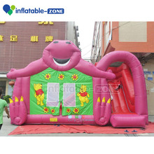 Inflatable cartoon bear jumping bouncer castle with slide for kids play