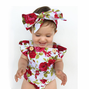 infant girl summer boho short sleeve baby floral romper with flower headband