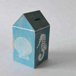 CE standard wooden antique money box with sea design