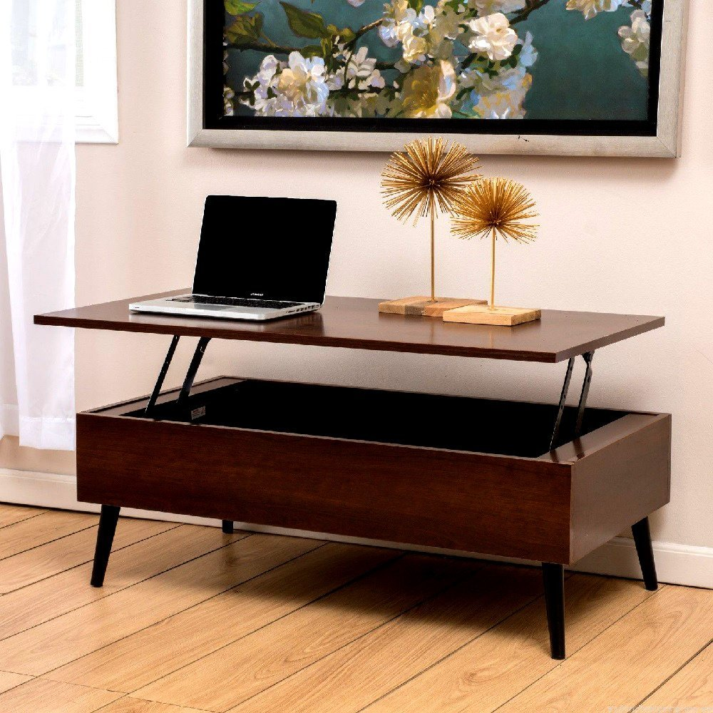 Lifttop Storage Coffee Table Living Room Wood Furniture Mid-Century Mahogany Modern Style - Skroutz