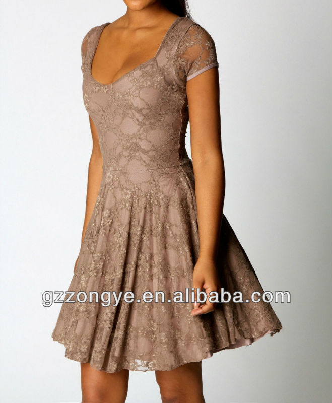 Mocha cap sleeves lace skater dress